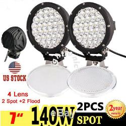 2X 7inch 140W Spot LED Work Light Headlight Driving Fog Lamp Offroad Tractor 4x4