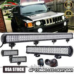 44 LED Light Bar+20.5''+Pods Wiring Combo For Hummer H1 H2 H3 Humvee AM General