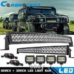52 LED Light Bar+32'' Lamp+4'' Offroad For Hummer H1 H2 H3 Humvee AM General 50