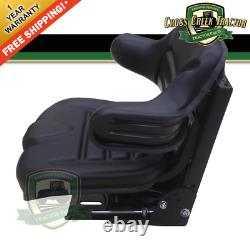 Black Universal Tractor Seat With Full Suspension and Adjustable Angle Base