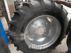TWO 13.6x28, 13.6-28 R1 Tractor Tires on 6 Loop Wheels with Centers