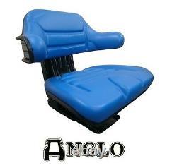 Tractor Seat Sprung Armrest Comfy Backrest Suspension Ford New Holland Blue