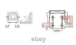 Universal Tractor Seat with Slide Tracks A-T500BL Kubota, Ford, Case IH, Allis, MF, JD