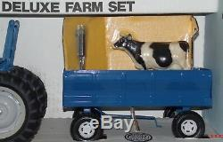 Vintage ERTL 1/16 Deluxe Ford Farm Set w. Tractor Wagon Plow Disc Cow New Other